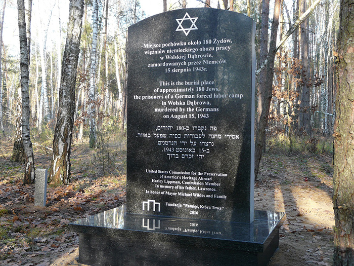 Holocaust Memorial In Wolska Dabrow, Poland Dedicated